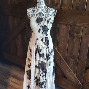 Bebe Black and White Flowy Dress